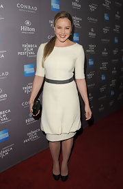 Abbie Cornish wore this unique spin on a little white dress for the Tribeca Film Festival reception.