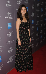 Shiri Appleby looked summery on the red carpet of the Tribeca Film Festival reception in this floral maxi-dress.