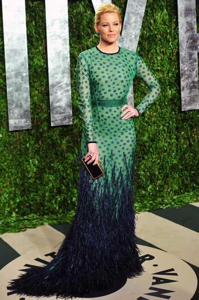Actress Elizabeth Banks arrives at the 2012 Vanity Fair Oscar Party hosted ...