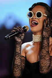 Rihanna looked like a vintage vixen at the 2012 Victoria's Secret Fashion Show in Depuis 1924's vintage Chanel pearl sunnies.