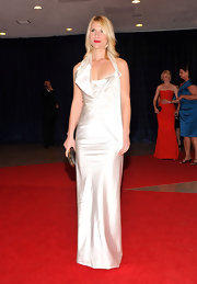 Claire Danes tried a different look on the red carpet in this draped white satin bustier gown.