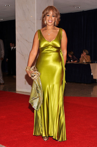 Gayle King shined on the red carpet of the White House Correspondents' Dinner in this chartreuse evening dress.