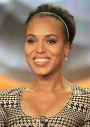 Kerry Washington wore a pair of gold-plated crystal tear drop Heloise earrings while on stage at the 2012 Winter TCA Tour.
