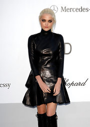 Sky Ferreira certainly took the leather dress trend to heart with this Gothic look at the amfAR soiree.