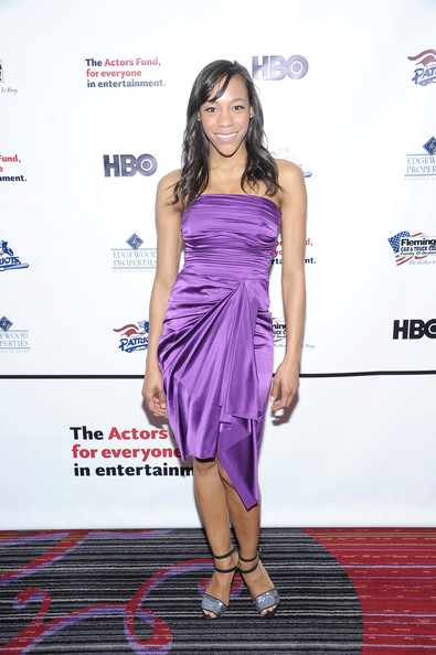 Nikki James showed off her petite frame with this strapless purple dress.