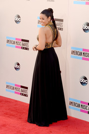 Jordin Sparks was all about edgy glamour in a black Jovani gown with a studded bodice during the American Music Awards.
