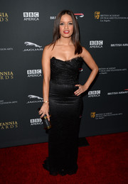 Rocsi Diaz chose a skintight black strapless gown for the BAFTA LA Britannia Awards.