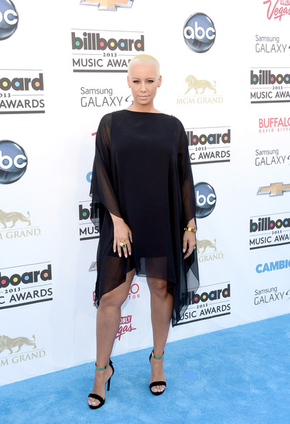 Amber Rose chose a flowing black dress for her look at the 2013 Billboard Music Awards.