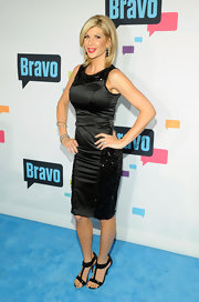 Alexiz Bellino brought some sparkle to the carpet when she opted for this black satin dress featuring beaded detailing.