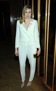 Greta Gerwig chose a totally modern look when she wore this crisp white double-breasted jumpsuit.