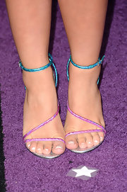 Lauren Alaina chose bright metallic aqua and fuchsia strappy sandals for the CMT Music Awards.