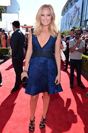 Malin Akerman chose a rich, royal blue jacquard V-neck frock for her look at the 2013 ESPY Awards.