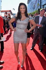 Paula's silvery beaded frock sparkled on the red carpet.