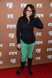 A pair of green jeans added a bright pop of color to Katey Sagal's ensemble at the 2013 FX Upfront Bowling event.