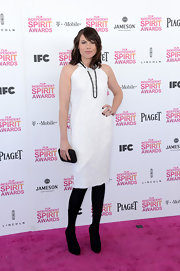 A white halter dress made for a modern and casual look at the Independent Spirit Awards.