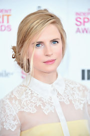 Brit Marling opted for a loose and low bun at the Independent Spirit Awards. The soft bun gave her a feminine and sweet look which matcher her overall look of the night!