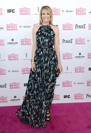 Leslie Bibb opted for a light and flowy print halter dress with matching belt for her Independent Spirit Award look.