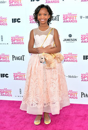 Quvenzhane Wallis looked classy and mature in a light pink embroidered frock while attending the Independent Spirit Awards.