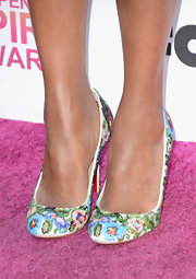 Kerry Washington opted for color at the Independent Spirit Awards when she chose these satin shoes embroidered with glass beads.