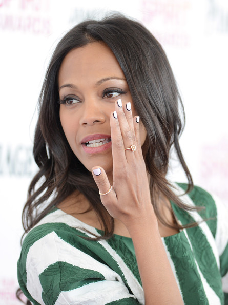 Hey look, Zoe Saldana knows her nail art trends! The actress opted for an inverted French manicure at the 2013 Independent Spirit Awards.