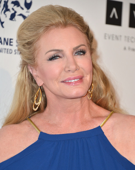 More Pics of Shannon Tweed Gold Dangle Earrings (1 of 8) - Shannon Tweed Lookbook - StyleBistro [hair,face,hairstyle,blond,eyebrow,chin,beauty,shoulder,long hair,lip,arrivals,shannon tweed,beverly hills,california,the beverly hilton hotel,genesis awards benefit gala]
