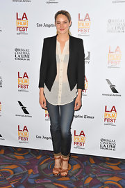 Shailene Woodley opted for a classic black blazer to pair over her white flowing button down at the LA Film Fest premiere of 'The Spectacular Now.'