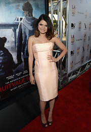 Melonie chose a light pink strapless cocktail dress for the 'Fruitvale Station' premiere.