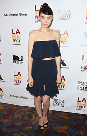 Rooney Mara stuck to her signature classic look with this strapless ruffled crop top and matching culottes.