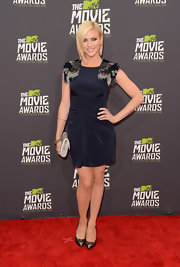 Brittany Snow stunned on the MTV Movie Awards carpet when she wore this navy frock with embroidered sleeves.