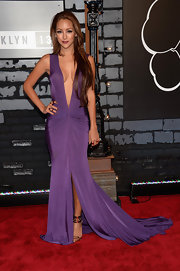 Melanie chose a rich grape-colored flowing dress with a deep V-neck for her look at the MTV Video Music Awards.