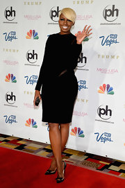 NeNe Leakes wore a long-sleeve black dress to the Miss USA Pageant in Las Vegas.