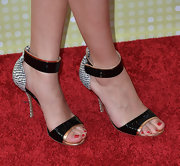 Selena Gomez chose these ankle sandals with a cool snakeskin print on the heel for her red carpet look.
