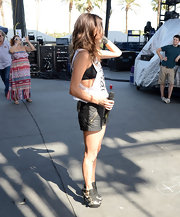 Jana Kramer rocked a pair of black buckled platform ankle booties at the 2013 Stagecoach California's Country Music Festival.
