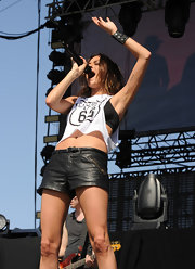 Jana Kramer rocked a pair of black leather shorts during her performance at the 2013 Stagecoach California's County Music Festival.