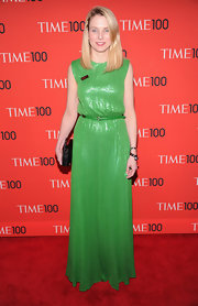Marissa Mayer chose a column-style sequined dress with a matching belt for her look at the Time 100 Gala in NYC.