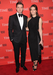 Jessica Biel's Tom Ford crisscross ankle-strap sandals and LBD were an edgy-chic pairing.