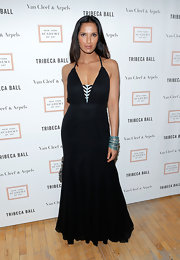 Padma Lakshmi chose a long black dress, which featured a black-and-white panel in the front, for her look at the Tribeca Ball.