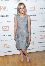 Gillian Miniter chose a cool silver-blue A-line in a classic jacquard for her look at the Tribeca Ball.