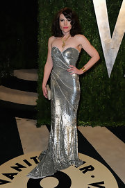Clea DuVall showed her glamorous side with this silver, sparkly strapless gown.