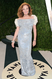 Diane von Furstenberg showed her love of old-Hollywood glamour with this silver sparkly gown with white fur trim.