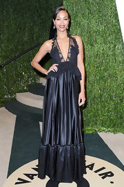 Zoe Saldana opted for a little black dress with ruffles and lace at the bodice for her 2013 Vanity Fair Oscar Party look.