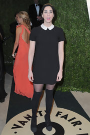 Sarah Silverman stayed true to her quirky style at the Vanity Fair party with a black mini dress with Peter Pan collar.
