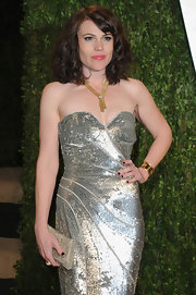 Clea DuVall sparkled from head to toe at the Vanity Fair Oscar party, especially with this pewter crystal clutch.