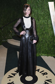 Hailee Steinfeld showed her edgier side with this leather dress with front bib collar.