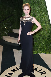 Anna Paquin showed her edgy but still sophisticated side with this black gown with a cut out neckline.