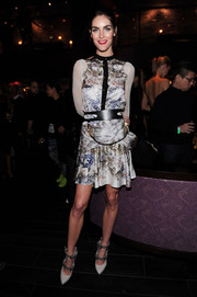 Hilary Rhoda chose a relatively modest (but still chic) Prabal Gurung print dress for her Victoria's Secret after-party look.