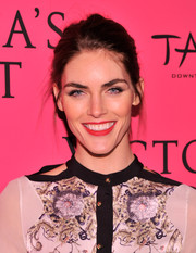 Hilary Rhoda's beauty look totally popped, thanks to that bright red lip color.