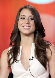 Troian Bellisario styled her long hair in billowy waves for the 2013 Winter TCA Tour.