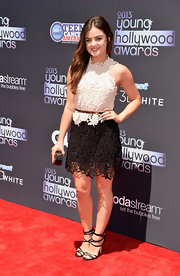 Lucy Hale had us swooning over this age-appropriate cream and black macrame lace dress at the 2013 Young Hollywood Awards.