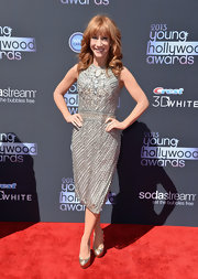 Kathy's silver beaded frock had a mature touch without being boring.